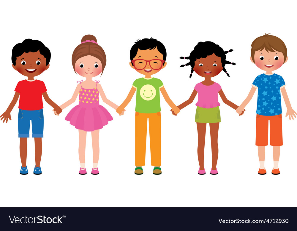 Children friends holding hands isolated on white vector | Price: 1 Credit (USD $1)