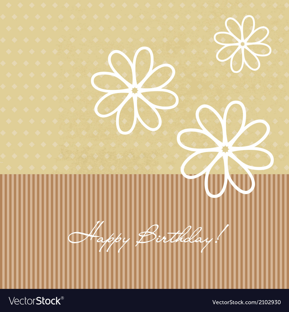 Congratulation birthday card with flowers vector | Price: 1 Credit (USD $1)