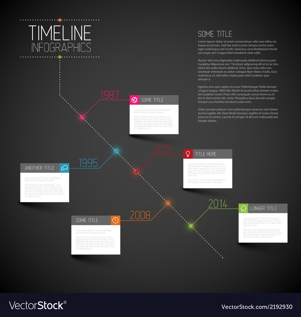 Infographic dark diagonal timeline report template vector | Price: 1 Credit (USD $1)