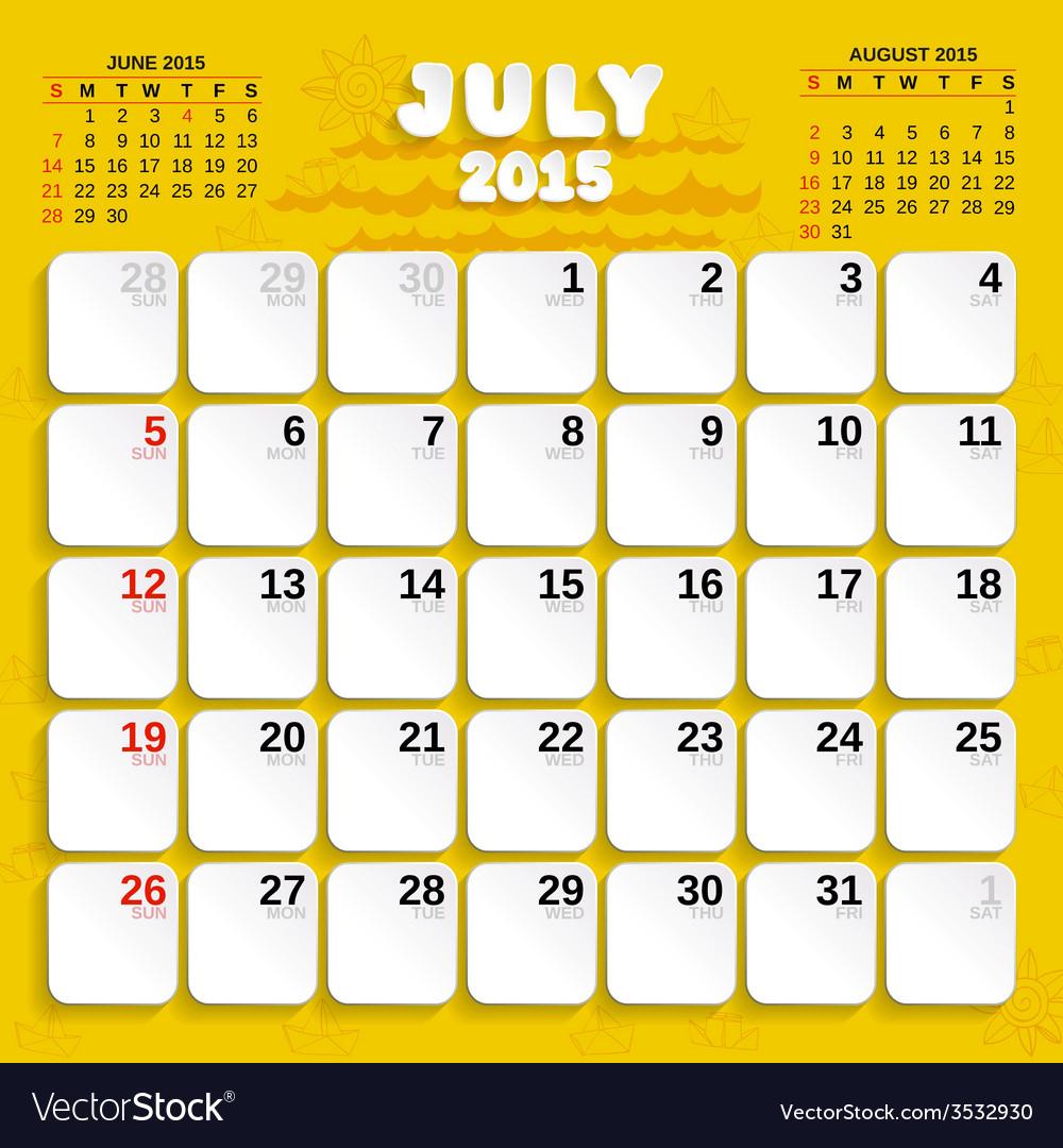 July month calendar 2015 vector | Price: 1 Credit (USD $1)