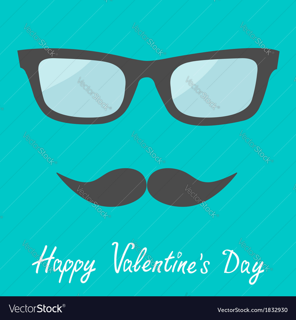 Mens glasses and moustache happy valentines vector | Price: 1 Credit (USD $1)