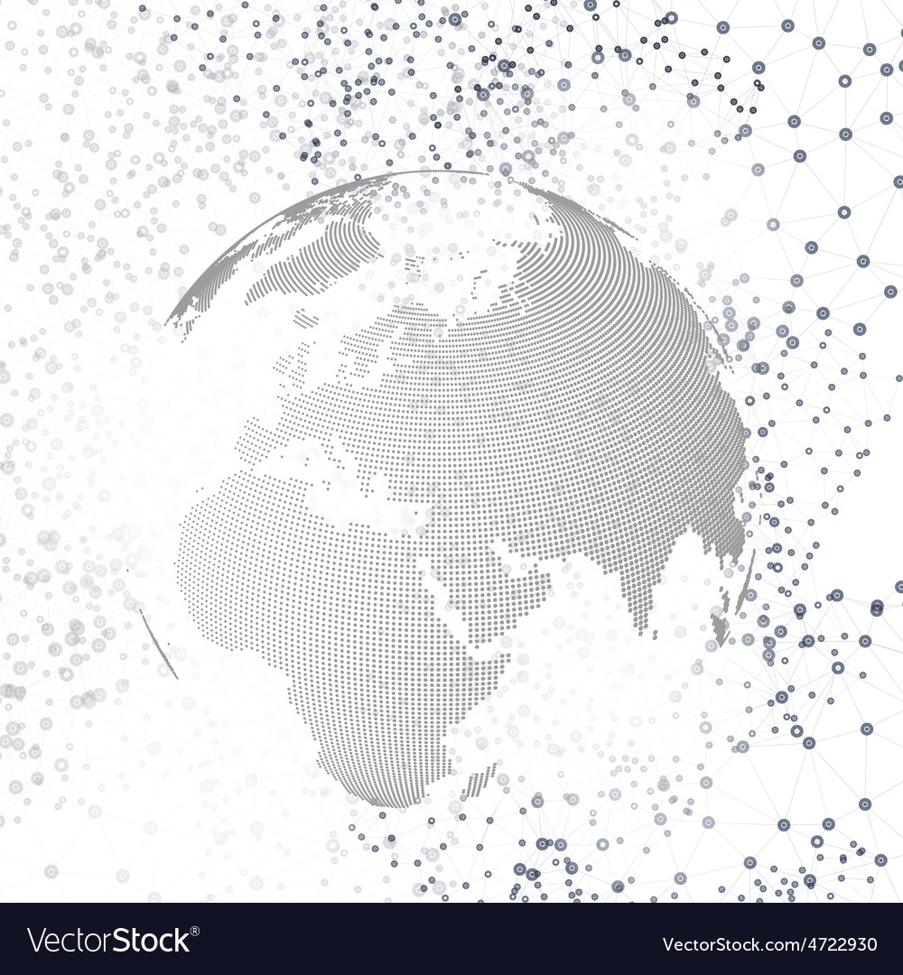 Molecule structure with world globe vector | Price: 1 Credit (USD $1)