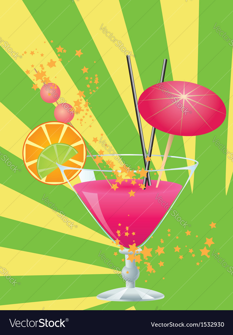 Pink cocktail with decorations vector | Price: 1 Credit (USD $1)