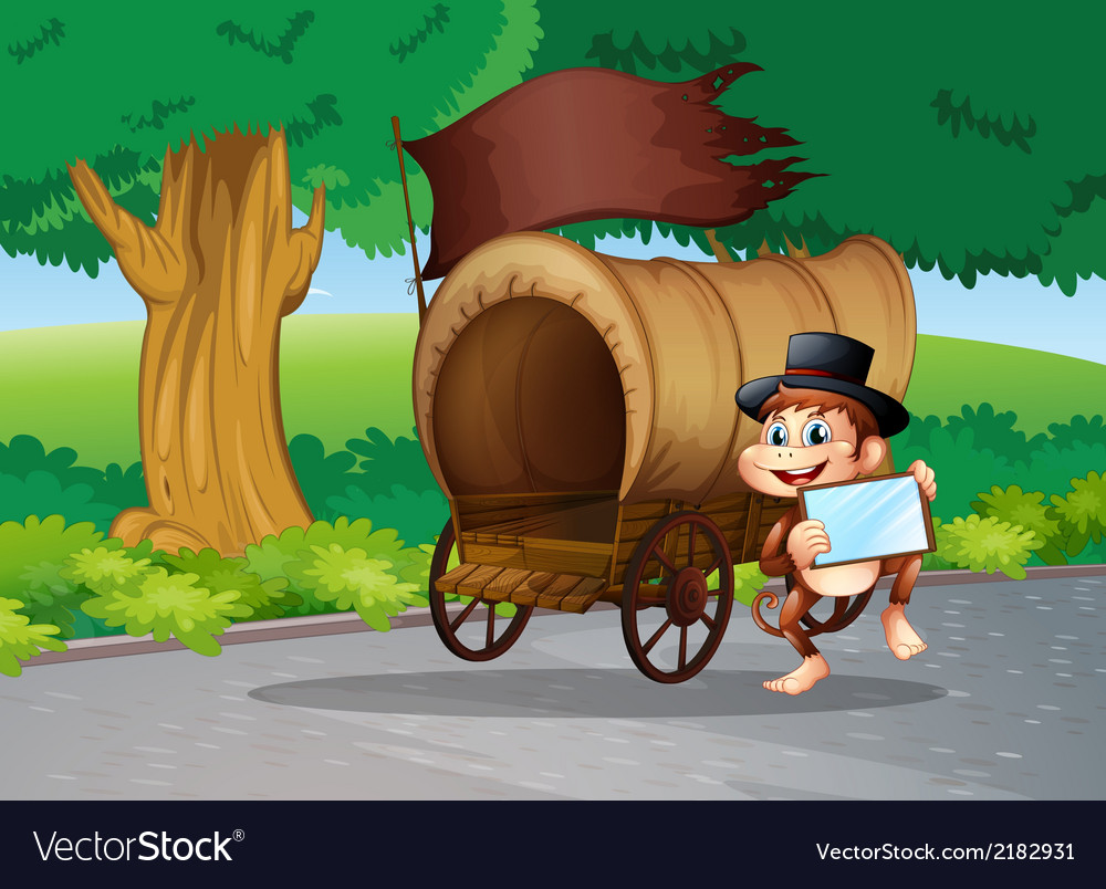 A monkey at the street standing beside the wagon vector | Price: 1 Credit (USD $1)