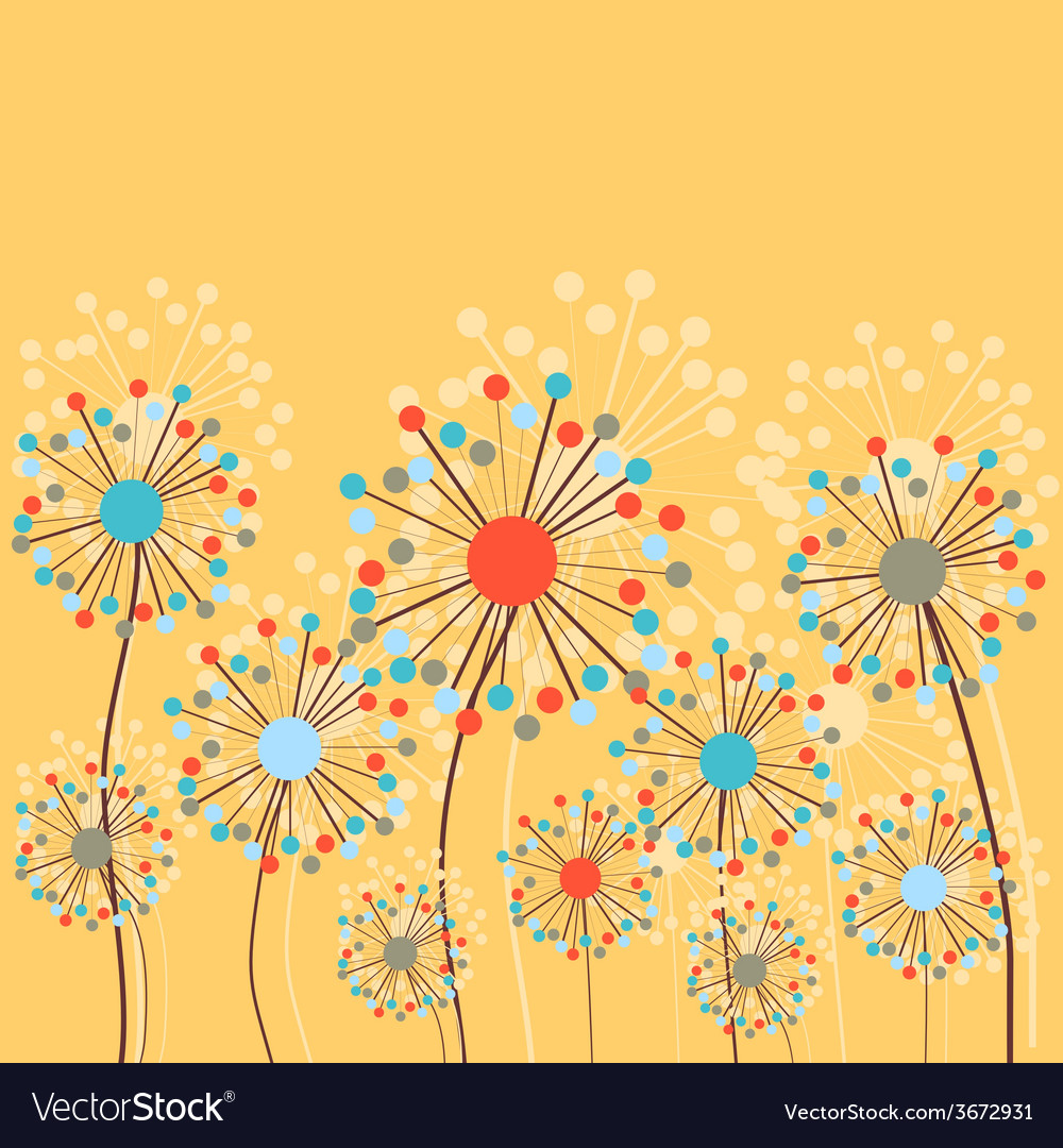 Abstract dandelion flowers background vector | Price: 1 Credit (USD $1)