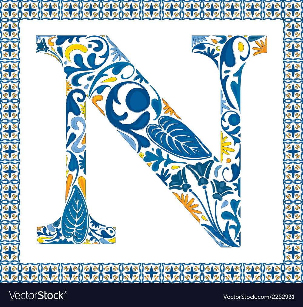 Blue letter n vector | Price: 1 Credit (USD $1)