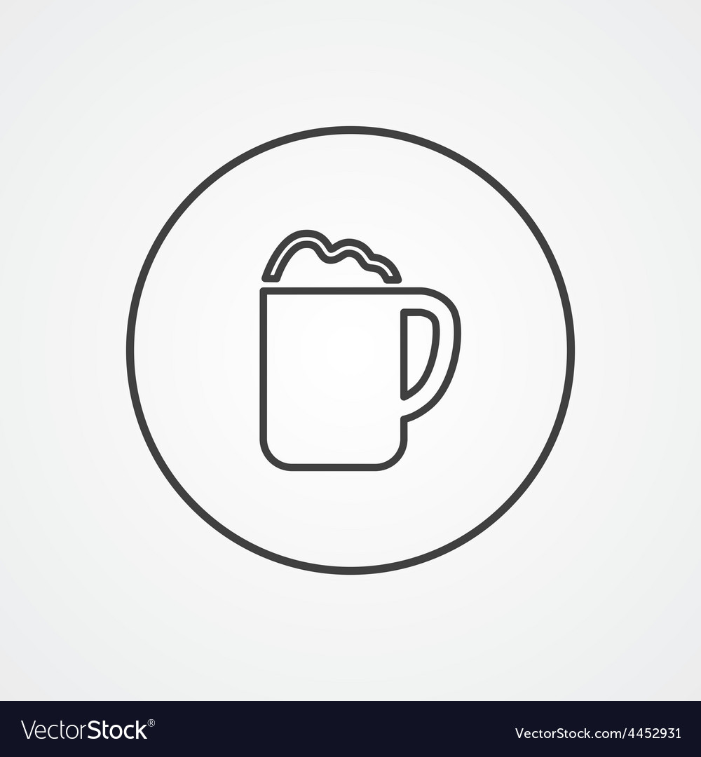 Cappuccino outline symbol dark on white background vector | Price: 1 Credit (USD $1)