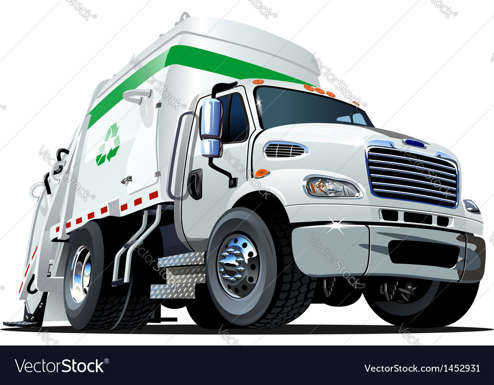 Cartoon garbage truck vector | Price: 3 Credit (USD $3)