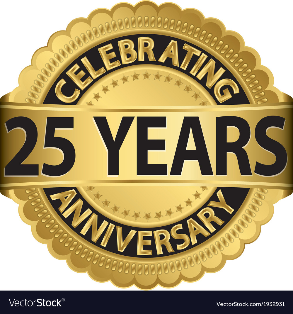 Celebrating 25 years anniversary golden label with vector | Price: 1 Credit (USD $1)
