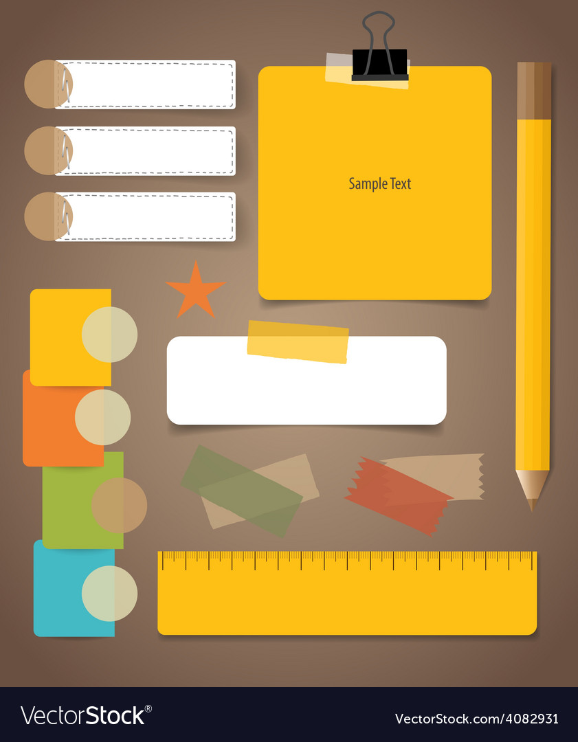 Cute note papers business working elements for web vector | Price: 1 Credit (USD $1)