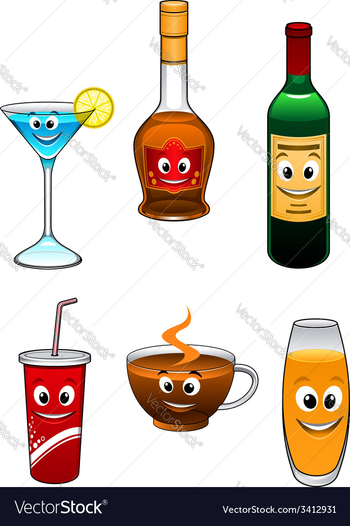 Drinks and beverage cartoon characters vector | Price: 1 Credit (USD $1)