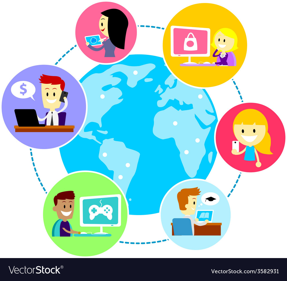Everyone in the world using internet vector | Price: 1 Credit (USD $1)