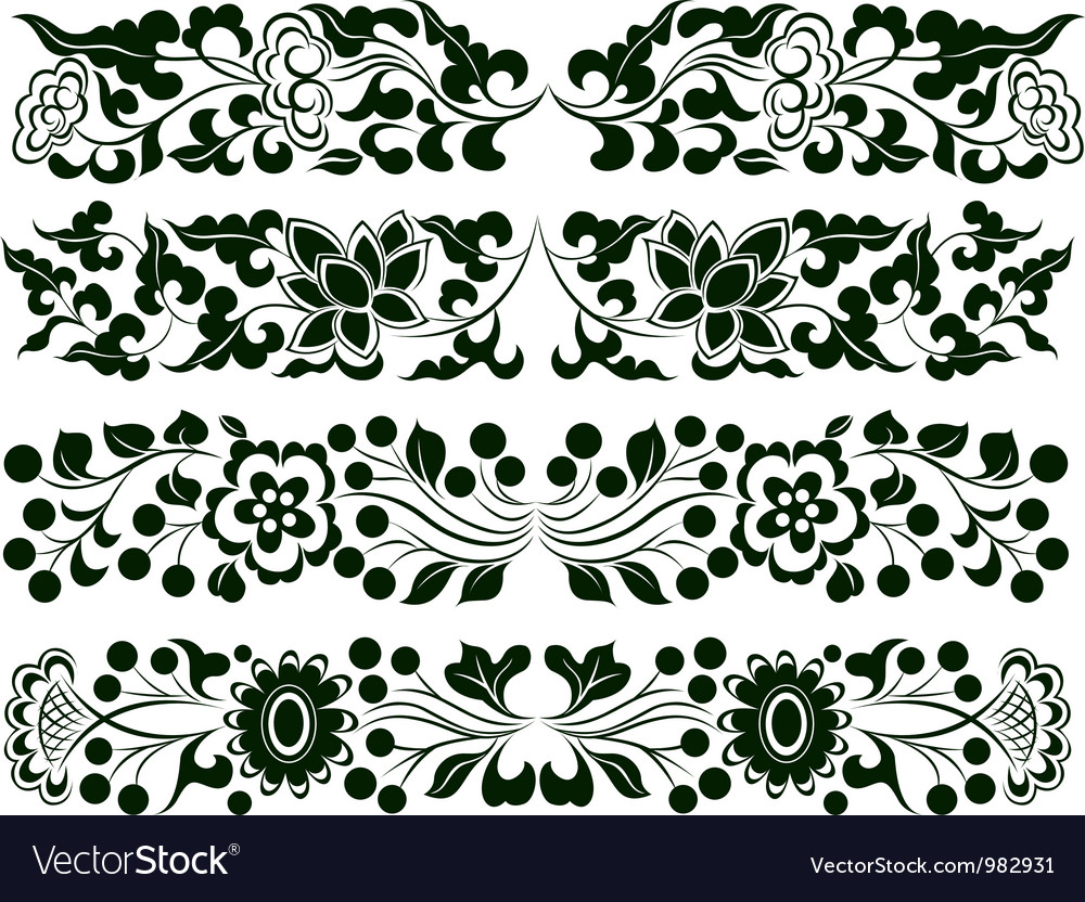 Flower border element set vector | Price: 1 Credit (USD $1)