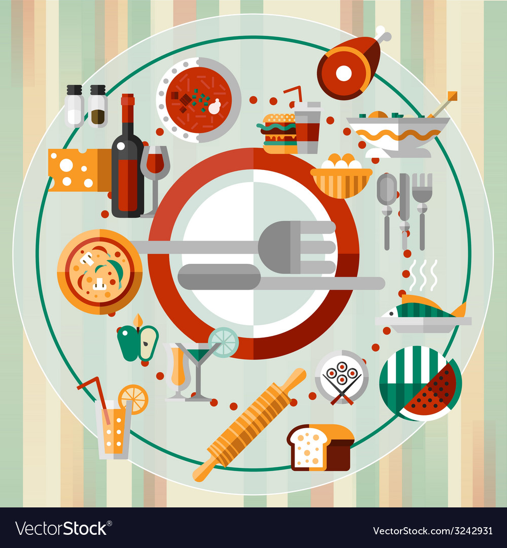 Food icons plate vector   Price: 1 Credit (USD $1)