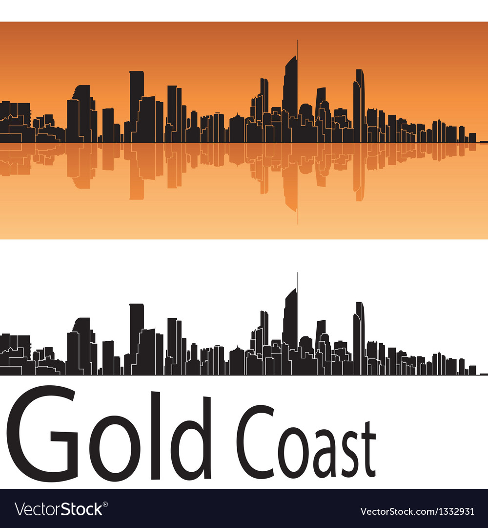 Gold coast skyline in orange background vector | Price: 1 Credit (USD $1)