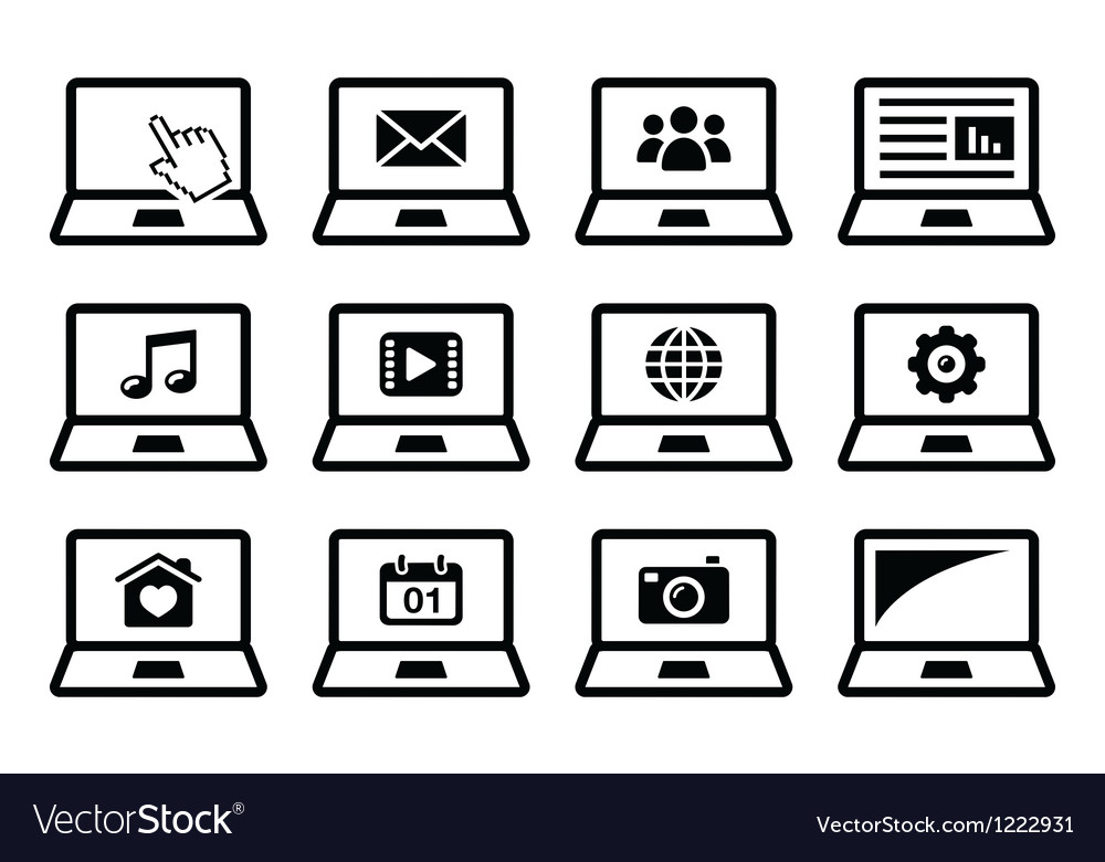 Laptop black icons set vector | Price: 1 Credit (USD $1)