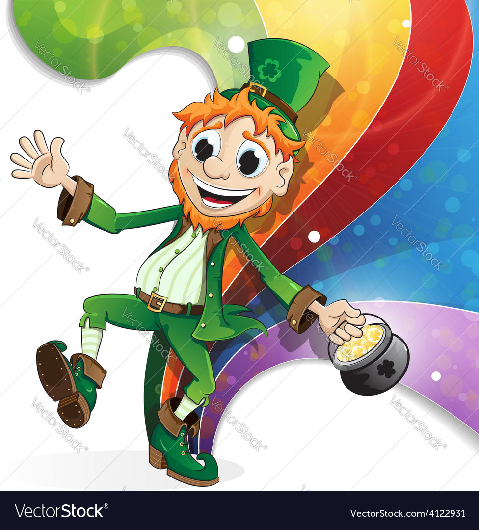 Leprechaun on rainbow background vector | Price: 3 Credit (USD $3)