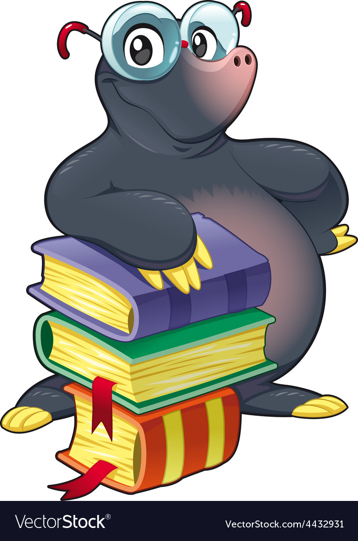 Mole with books vector | Price: 1 Credit (USD $1)