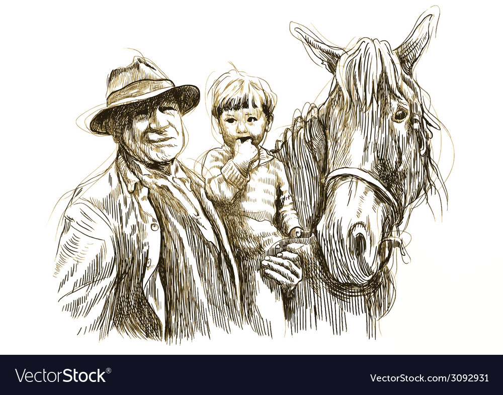 Old man and child and horse vector | Price: 1 Credit (USD $1)