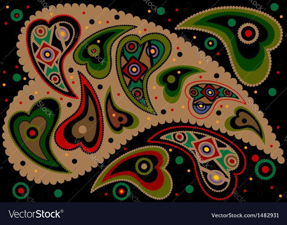 Paisley on black background vector | Price: 1 Credit (USD $1)