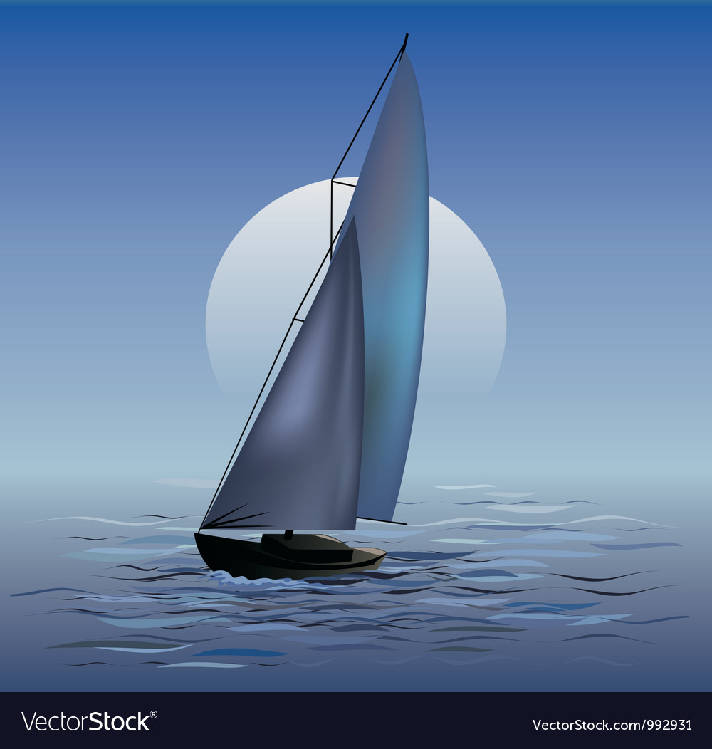 Sailing boat in moonrise vector | Price: 1 Credit (USD $1)