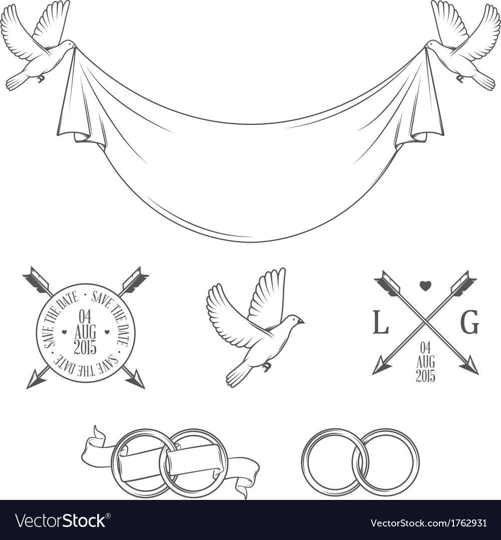 Set of vintage wedding invitation design elements vector | Price: 1 Credit (USD $1)