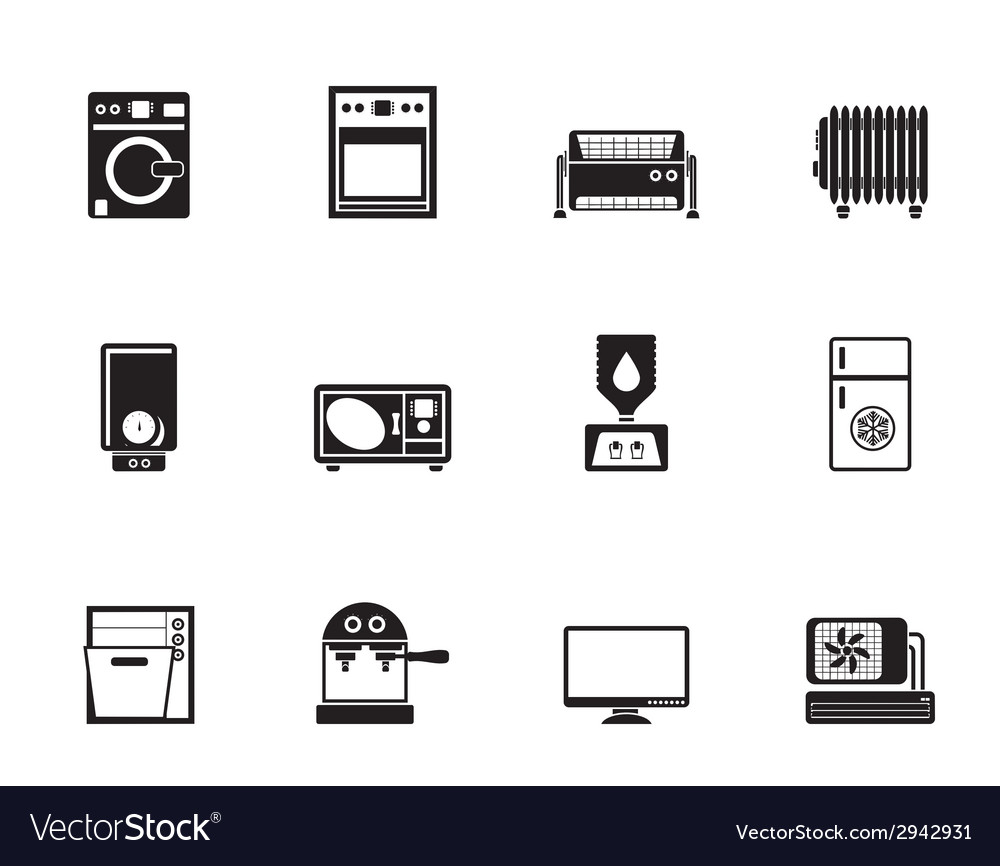 Silhouette home electronics and equipment icons vector | Price: 1 Credit (USD $1)