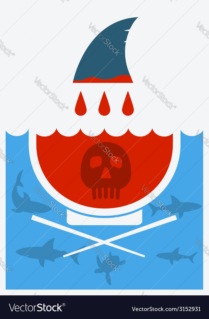Stop shark finning soup vector | Price: 1 Credit (USD $1)