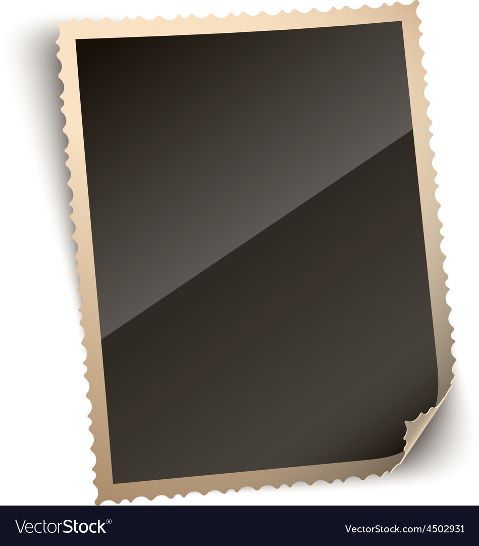 Vintage photo paper frame with curled corner vector   Price: 1 Credit (USD $1)