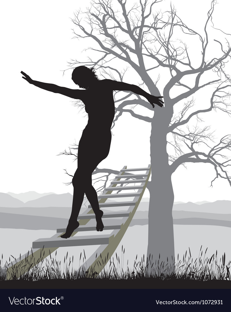 Woman on ladder vector | Price: 1 Credit (USD $1)