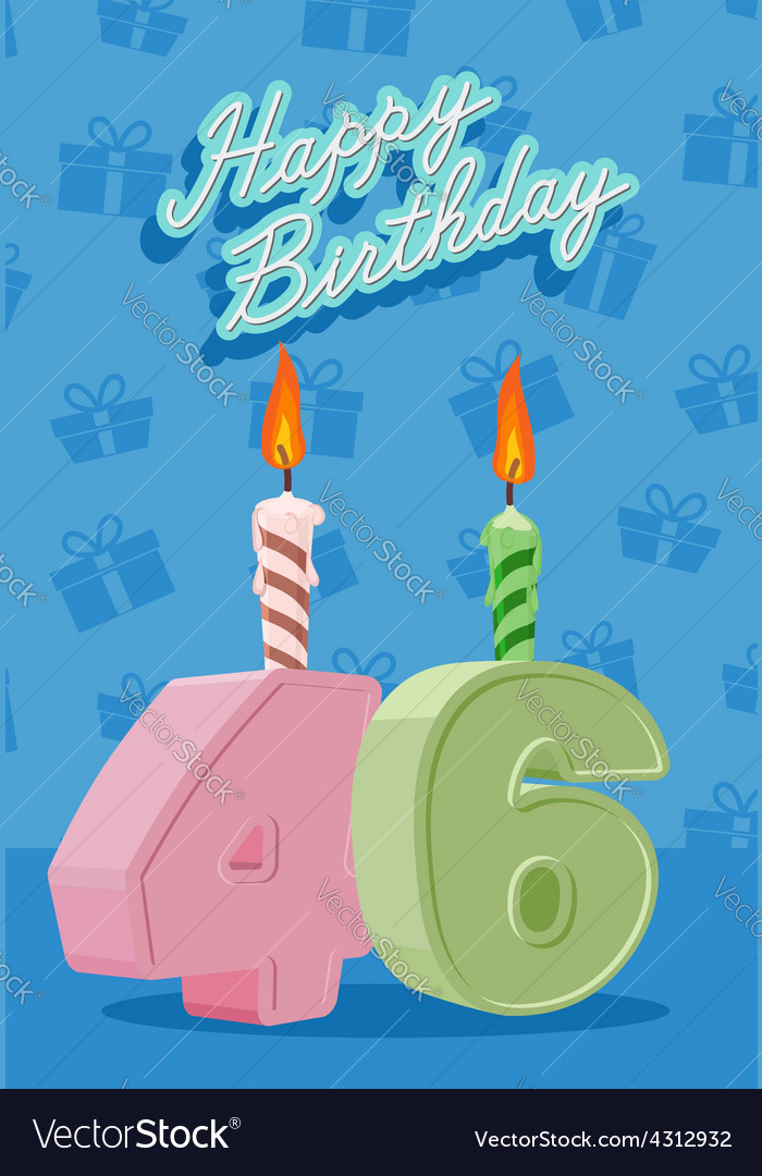 46 years celebration 46nd happy birthday vector | Price: 1 Credit (USD $1)