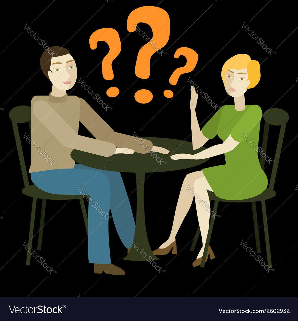 Caucasian couple having conversation vector | Price: 1 Credit (USD $1)