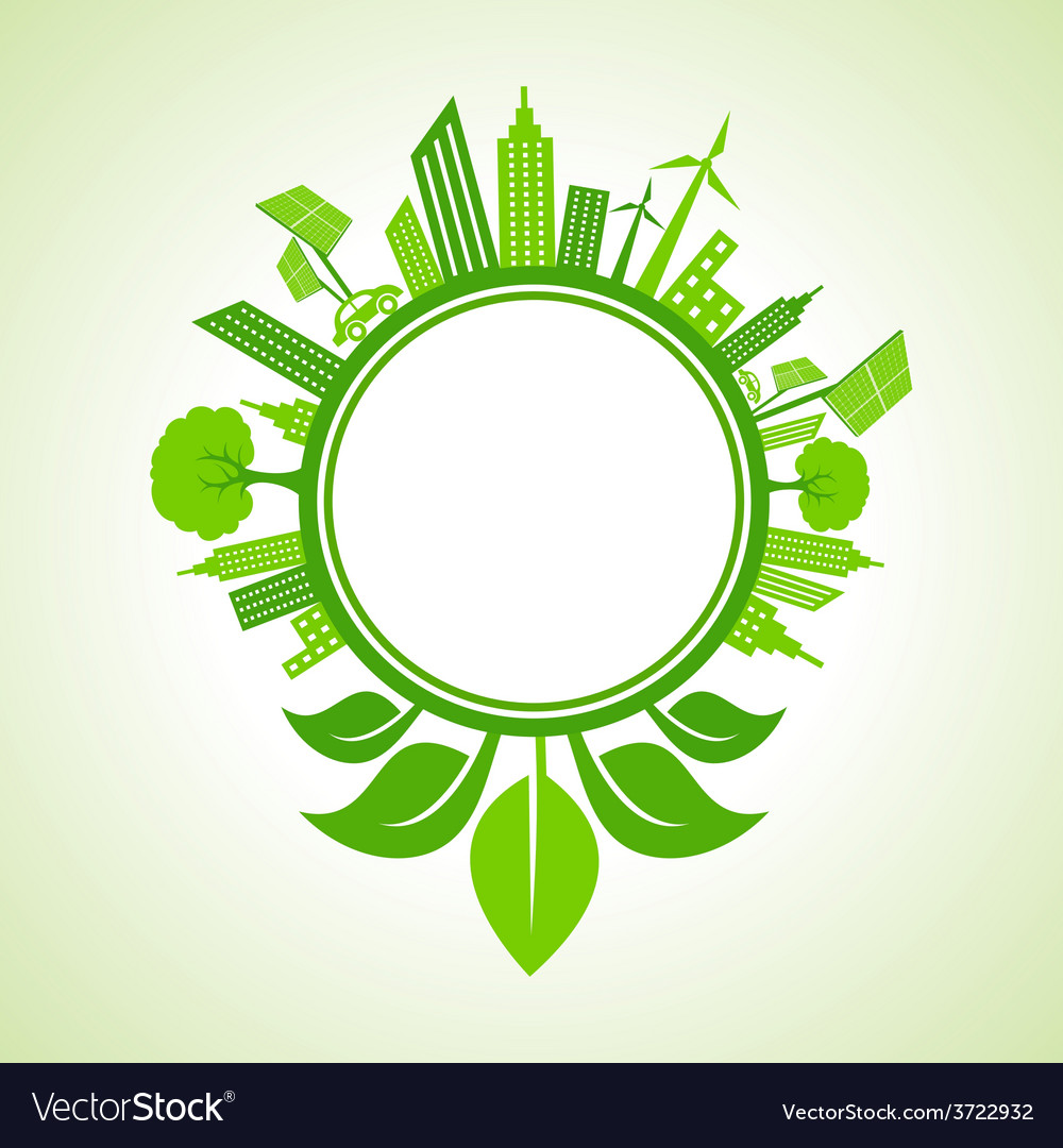 Eco cityscape with leaf around the circle vector | Price: 1 Credit (USD $1)