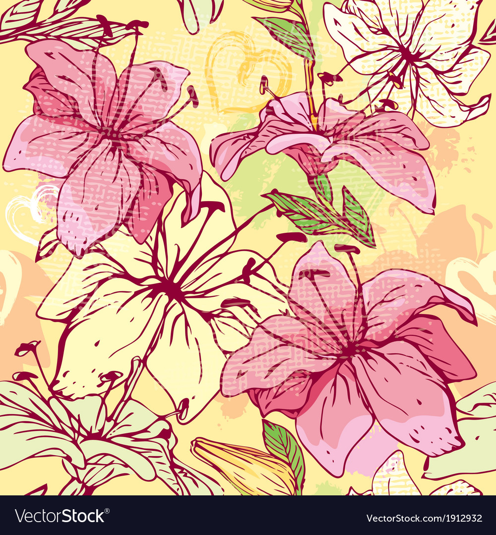 Floral seamless pattern with hand drawn flowers vector | Price: 1 Credit (USD $1)