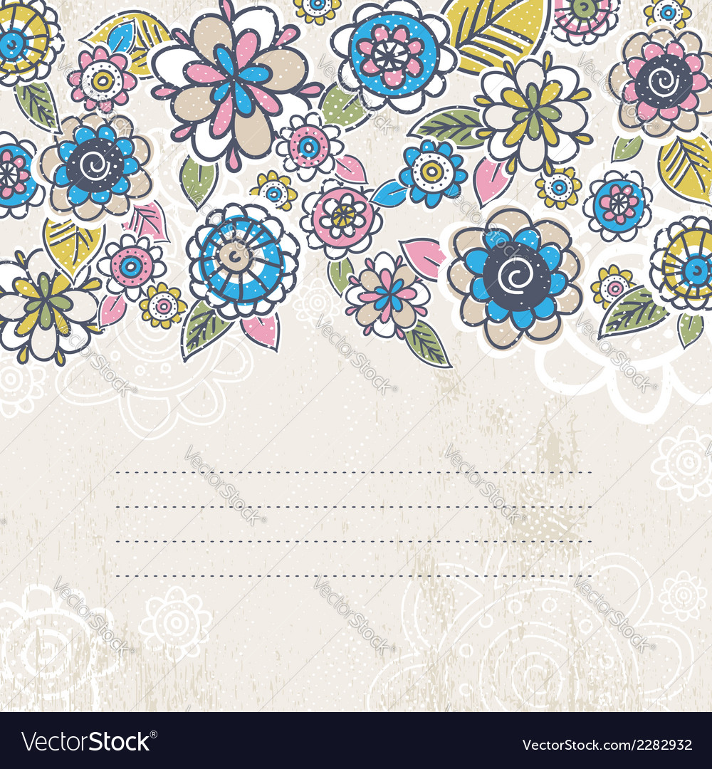 Hand draw flowers on beige background vector | Price: 1 Credit (USD $1)