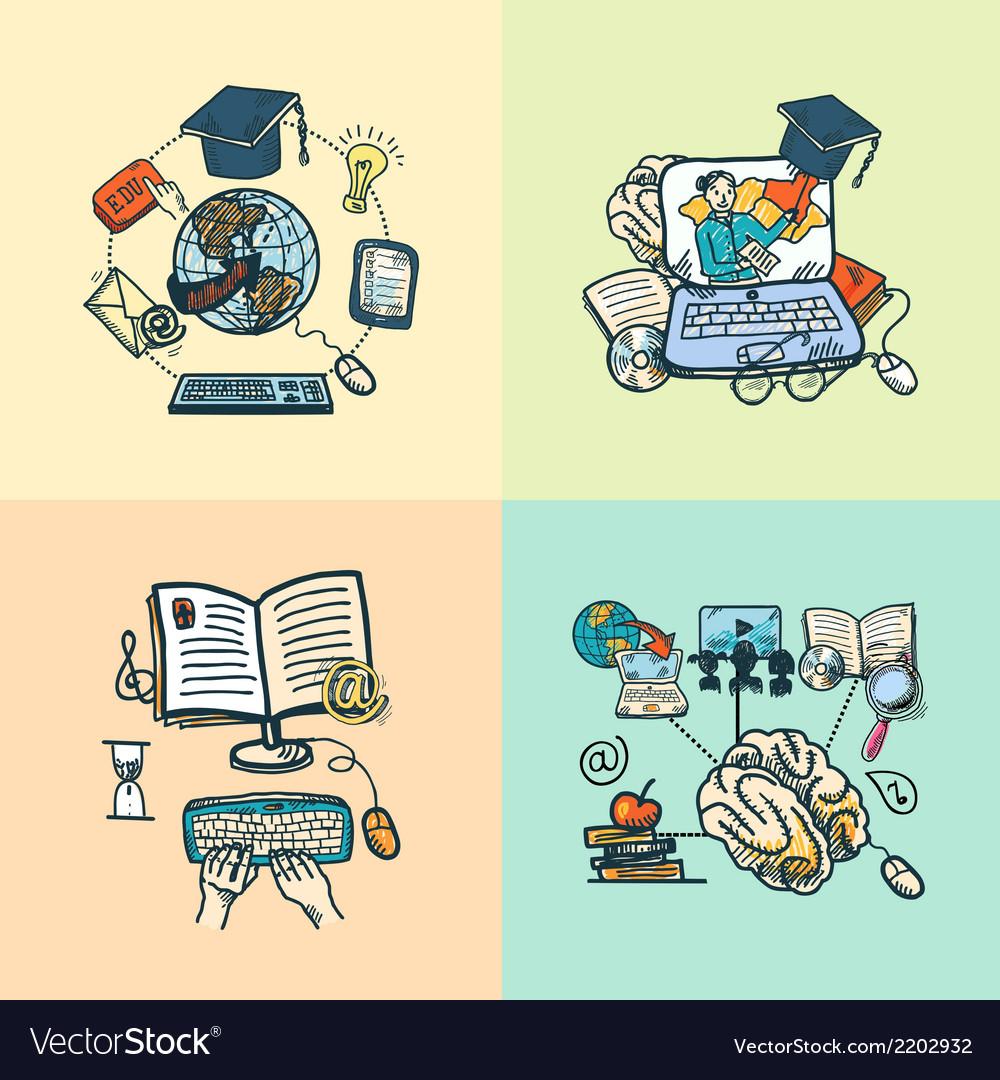 Online education icon sketch vector | Price: 1 Credit (USD $1)