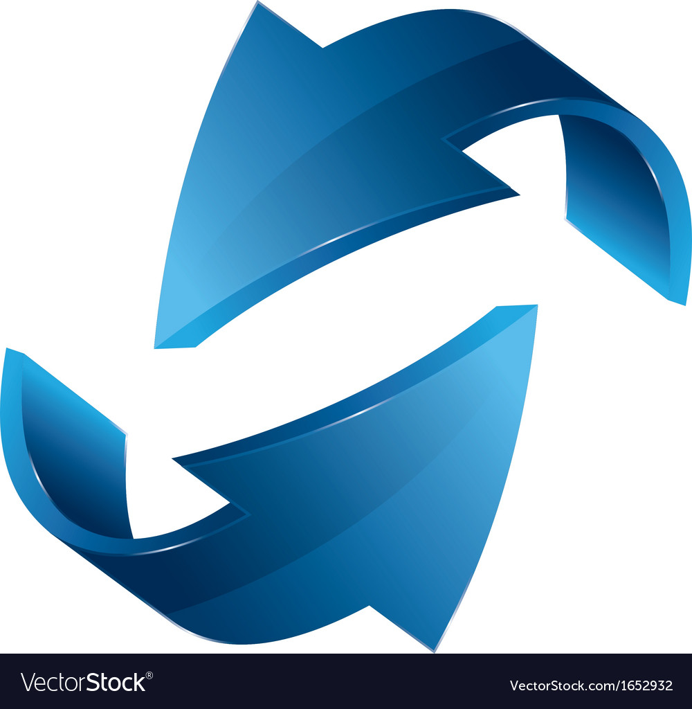 Two three dimensional arrows blue shades vector | Price: 1 Credit (USD $1)