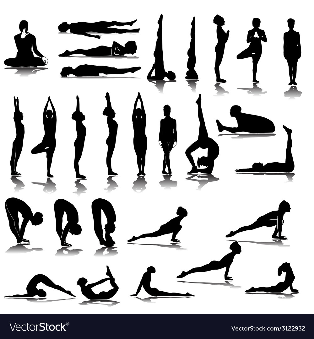 Various yoga silhouettes vector | Price: 1 Credit (USD $1)