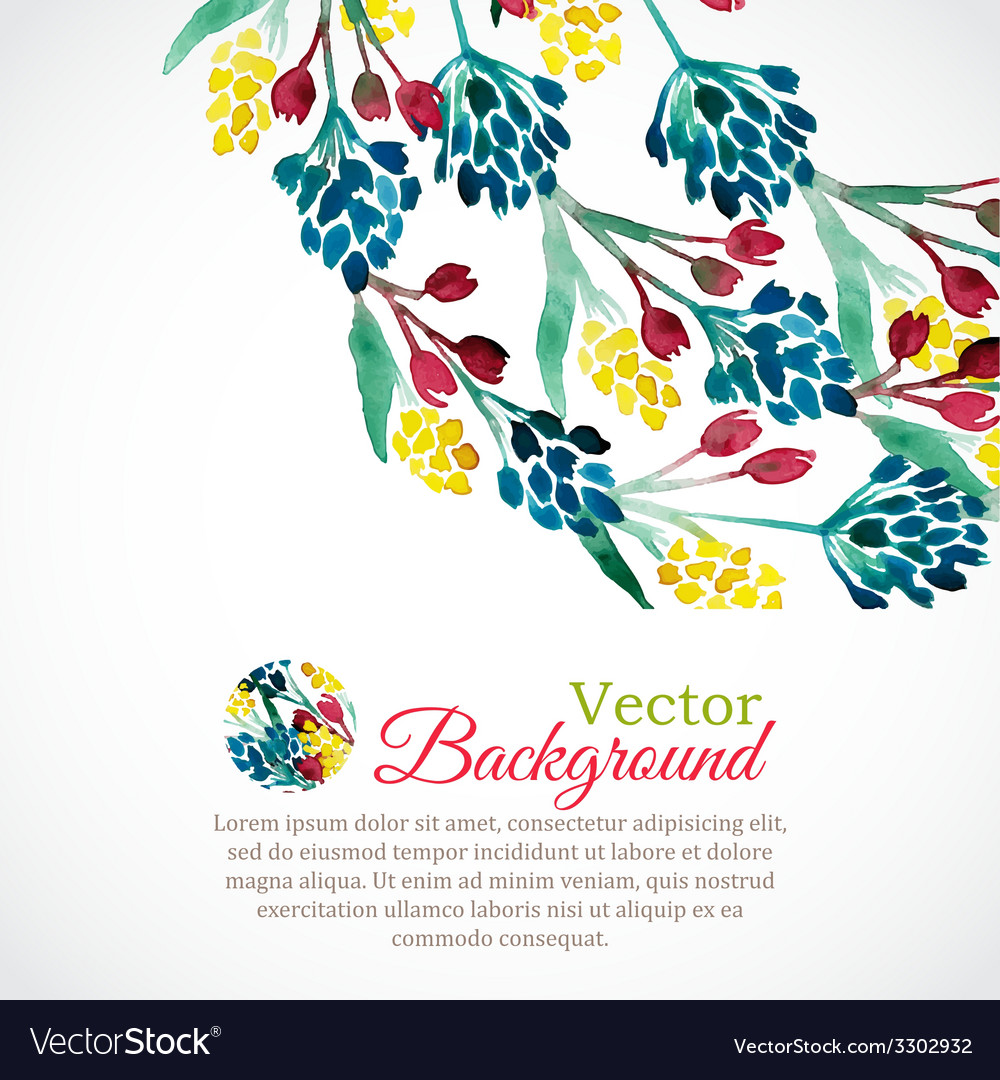 Watercolor spring frame with colorful flowers vector | Price: 1 Credit (USD $1)