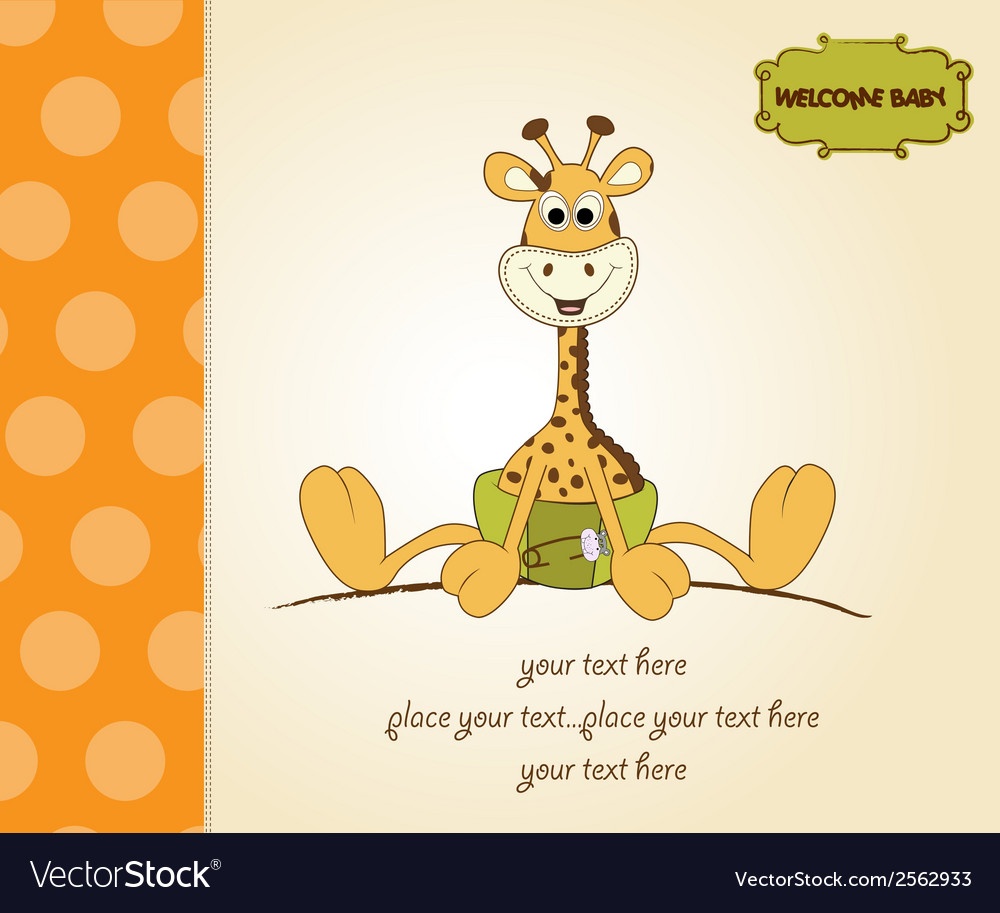 Baby shower card with baby giraffe vector   Price: 1 Credit (USD $1)