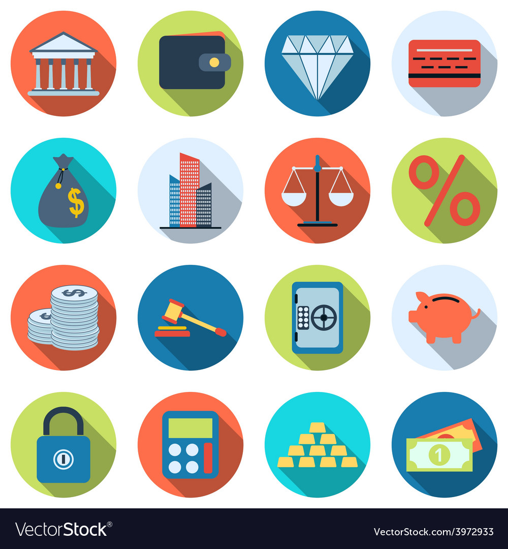 Business and finance flat icons vector | Price: 1 Credit (USD $1)