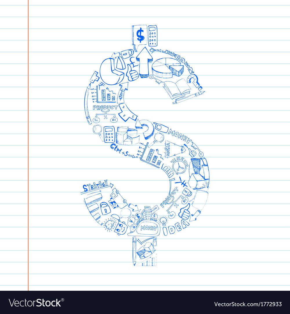 Business dollar doddle vector | Price: 1 Credit (USD $1)