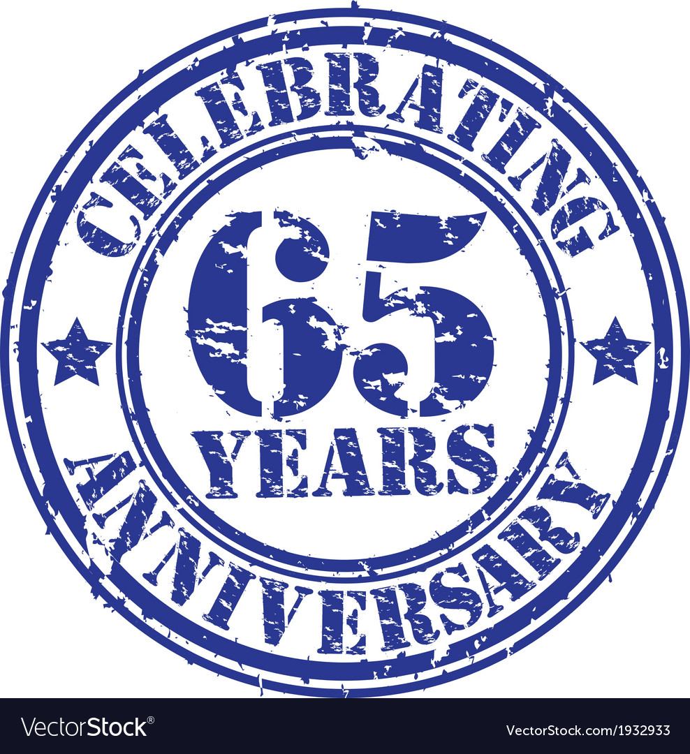 Celebrating 65 years anniversary grunge rubber st vector | Price: 1 Credit (USD $1)