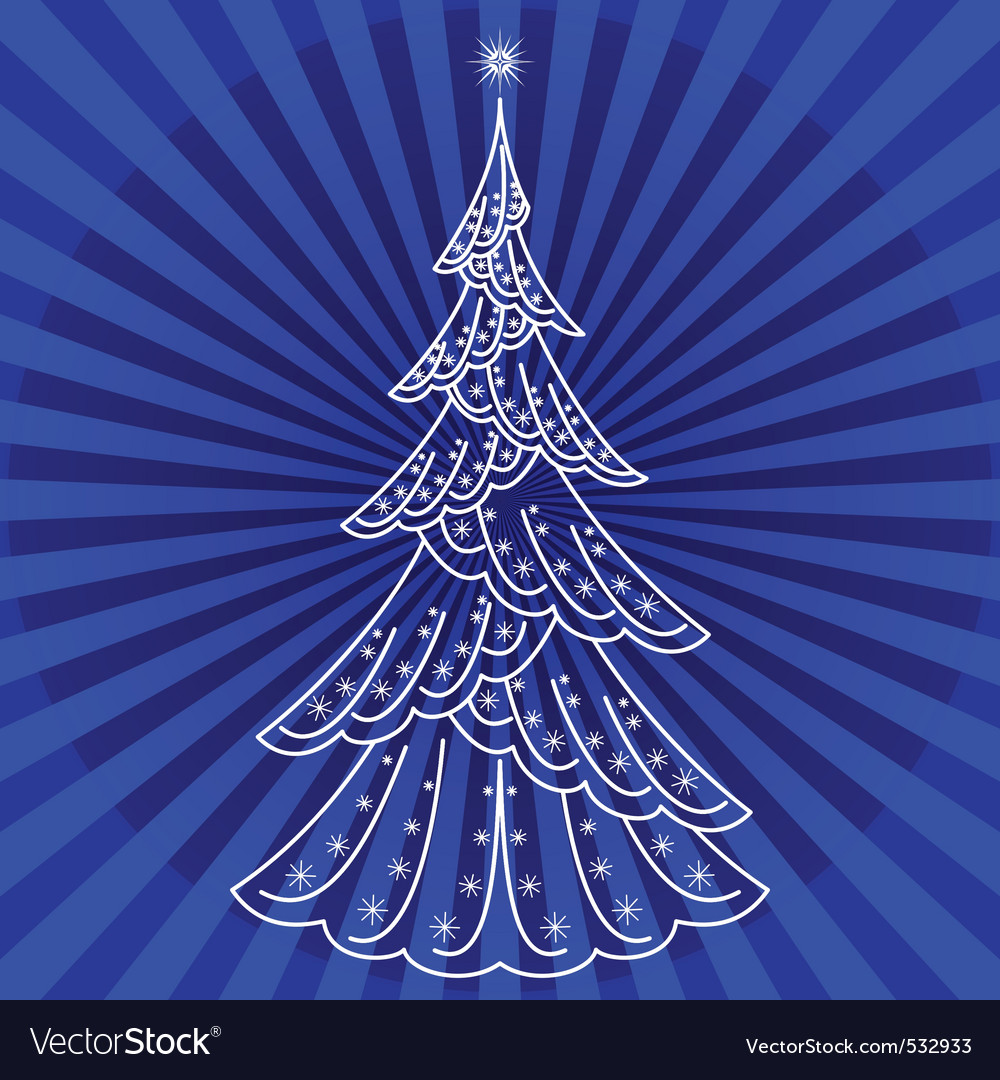 Christmas firtree on blue vector | Price: 1 Credit (USD $1)