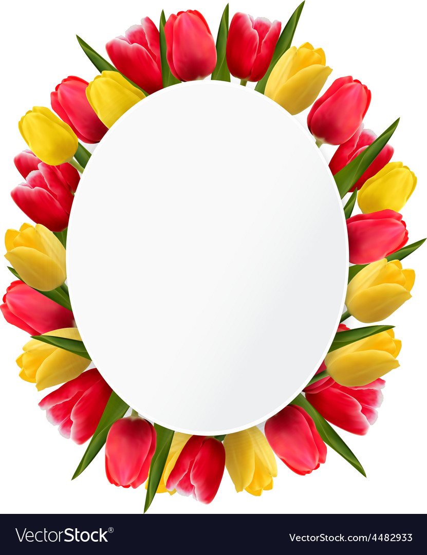 Colorful tulip flowers background happy mothers vector