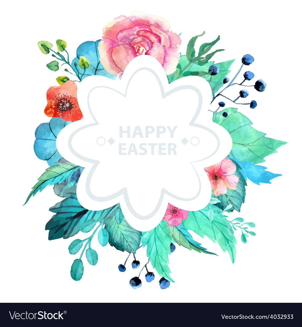 Easter watercolor natural with flower sticker vector | Price: 1 Credit (USD $1)