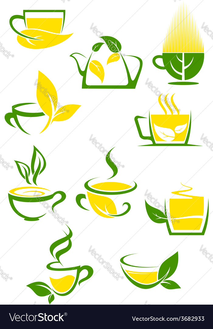 Green tea icons with outlined cups and teapot vector | Price: 1 Credit (USD $1)
