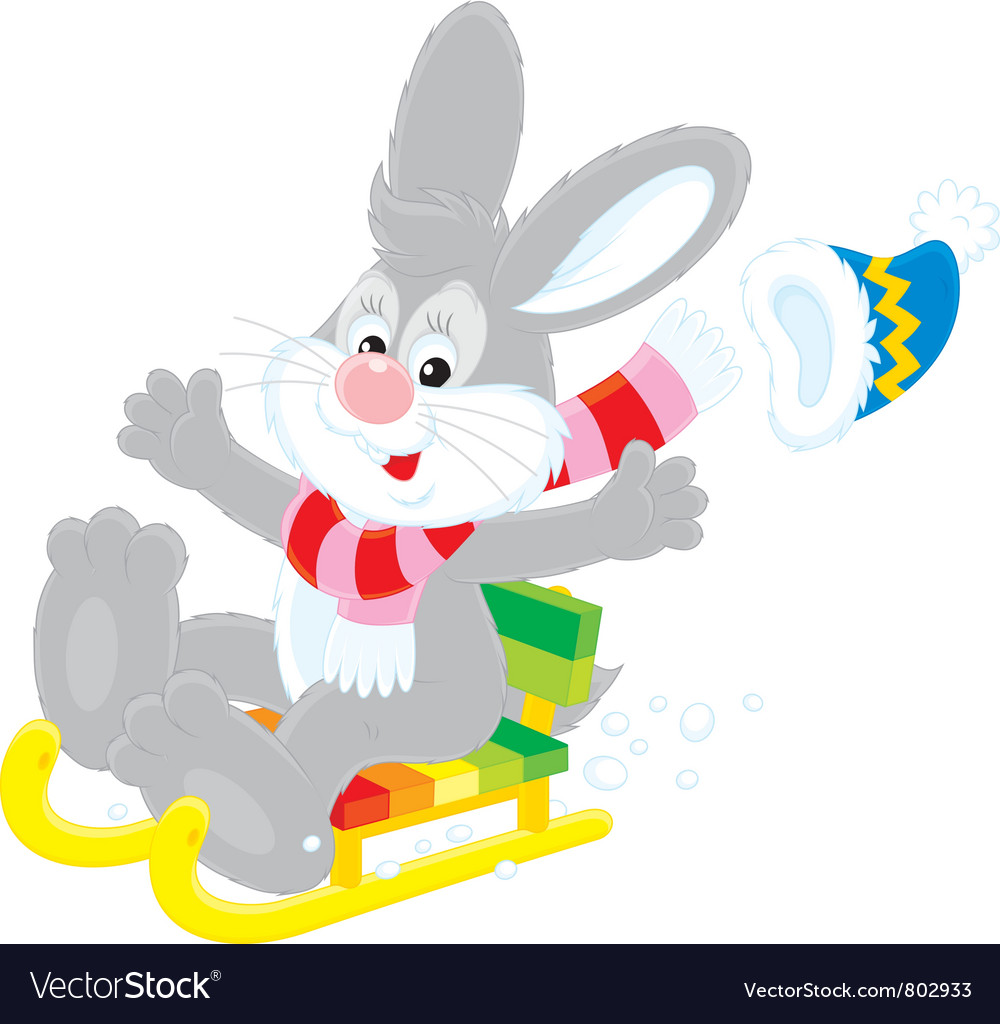 Hare driving in a sled vector | Price: 1 Credit (USD $1)