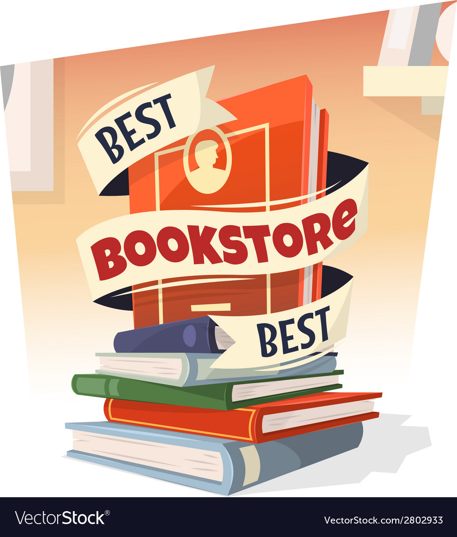 Heap of books with best bookstore text vector | Price: 1 Credit (USD $1)