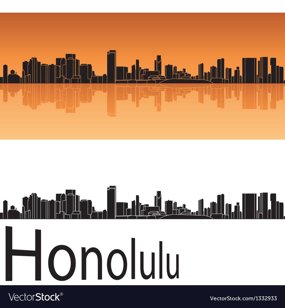 Honolulu skyline in orange background vector | Price: 1 Credit (USD $1)